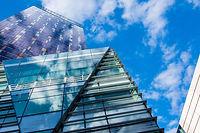 glass-building-panels-under-blue-sky-691