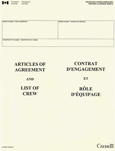 Transport Canada - Articles of Agreement and List of Crew