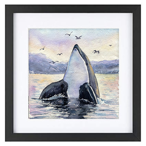 Tempered Glass 11x11 Wood Frame with Mat for 8x8 Whale Artwork