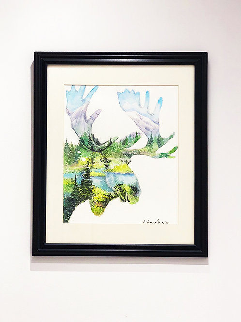 """Mighty Moose"" Lake Mountains & Forest Spirit Animal Watercolour Painting"