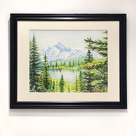"""The Peak"" Garibaldi Park Mountains & Lake Watercolour painting"