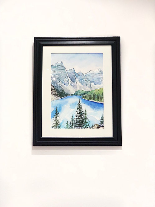 """The Rockies"" Banff Park Mountains & Moraine Lake Watercolour painting"