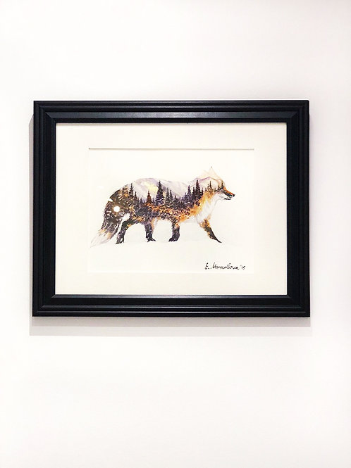 """The Little Fox"" Mountains and Forest Watercolour Painting"