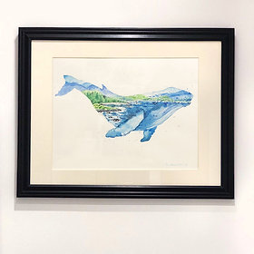"""""""Humphrey the Humpback"""" Whale Watercolour Painting"""