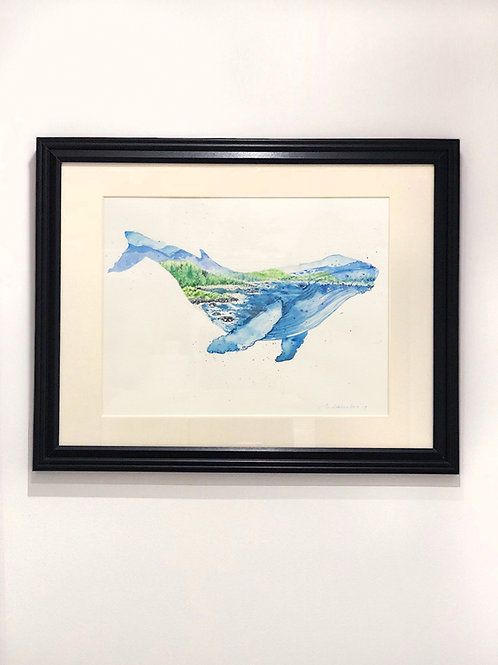 """Humphrey the Humpback"" Whale Watercolour Painting"