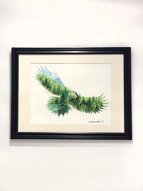 """The Eagle"" - Lake and Forest Watercolour Painting"