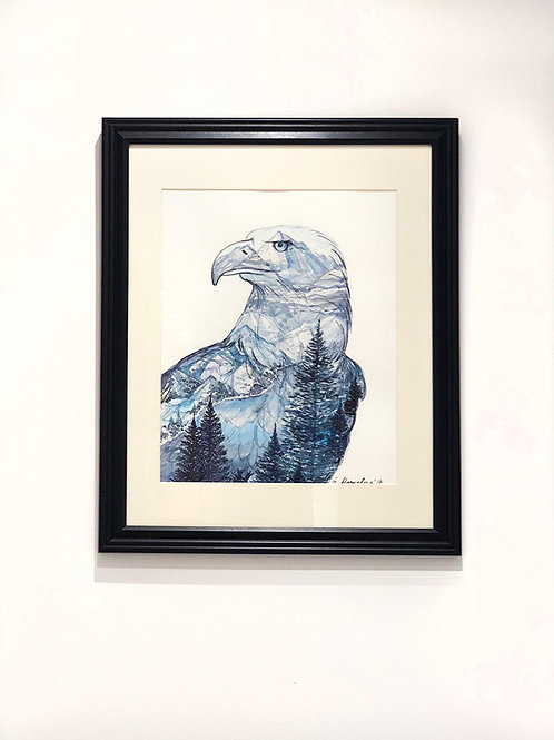 """""""Mountain Eagle"""" Lake and Forest Watercolour Painting"""