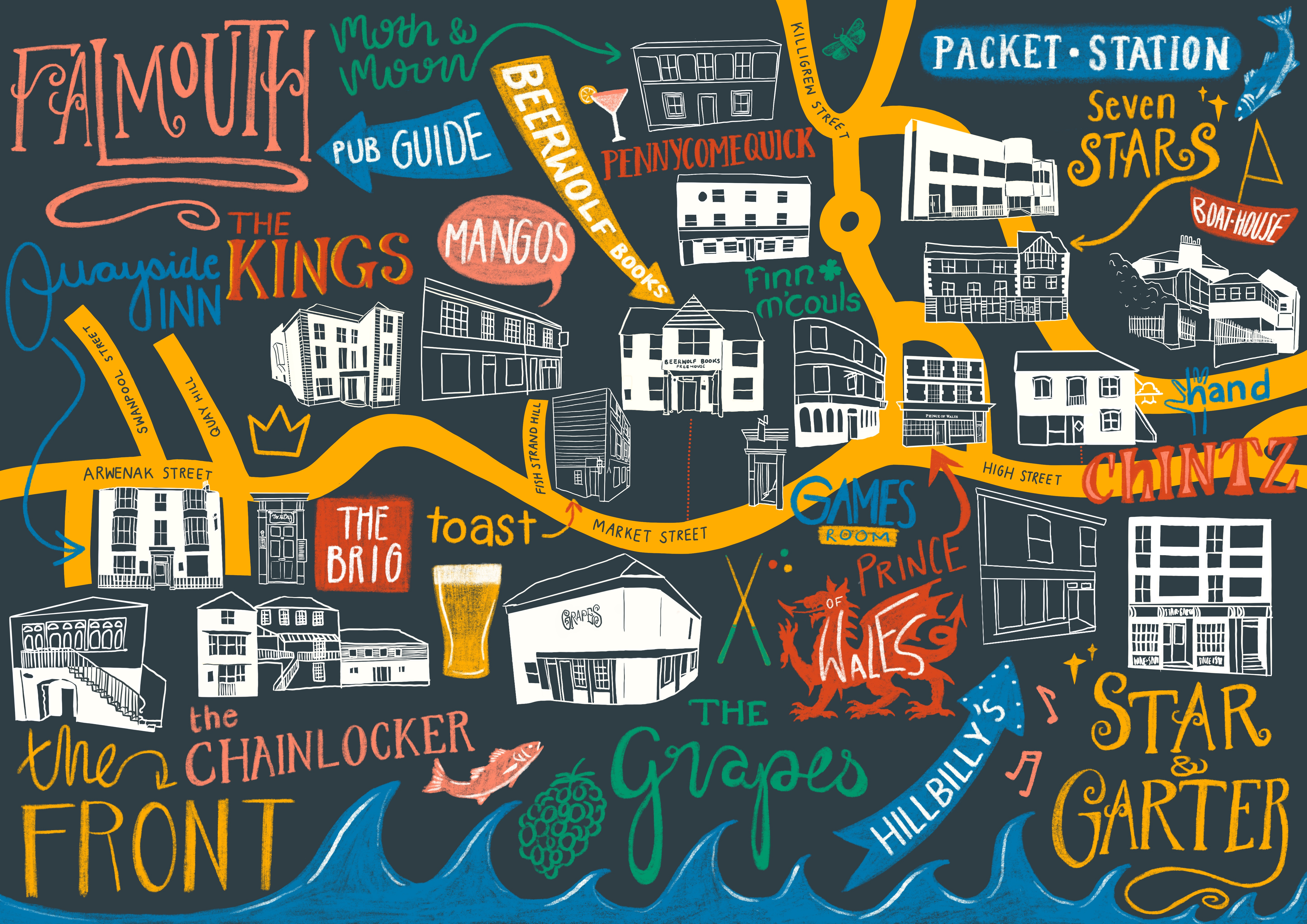 Map of the pubs in Falmouth