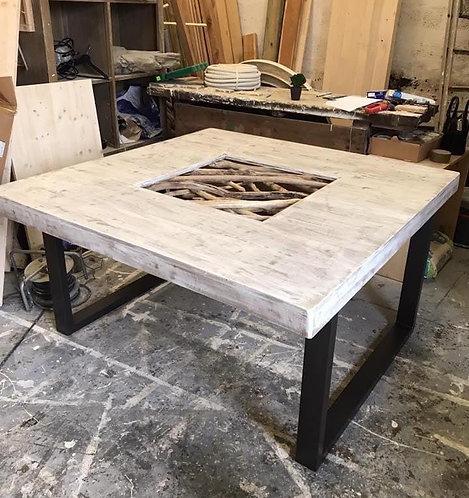 Table mélange bois flotté / métal 3mx1m