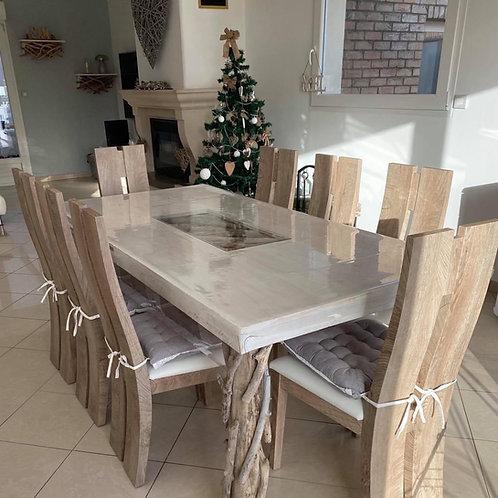 Table en bois flotte feuillure au centre avec verre trempé 2MX1M