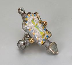 Blue Gold Vase Enamel Ring