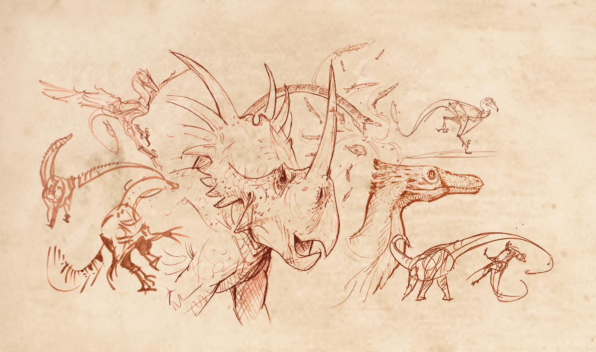Dinosaurs Alive! Sketch composite