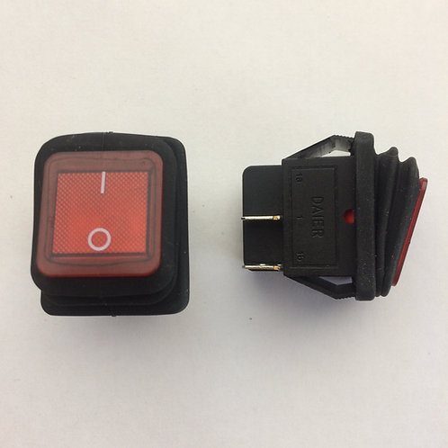 Выключатель клавишный 250В 15А (4с) on-off влагозащищенный.