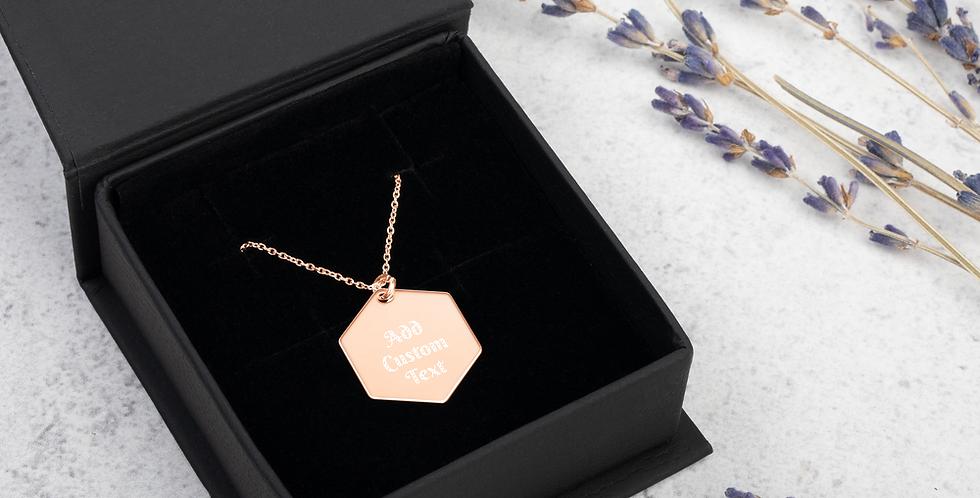 Custom Engraved Silver Hexagon Necklace