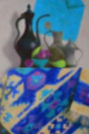 Голубой восточный натюрморт. 90х60 см ма