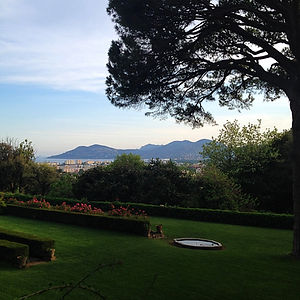 sea and mountain view from the gardens at Château de Garibondy