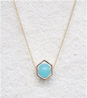 Hexagon Turquoise Pendant