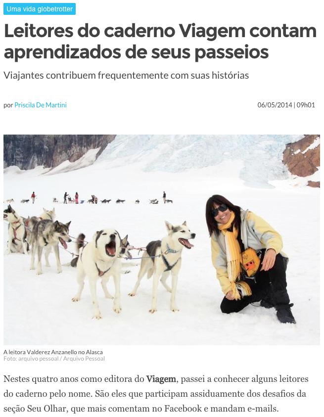 No Caderno de Turismo do ZERO HORA de hoje, a queridíssima Valderez. Êêêêêêê Vidão!!