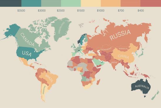 A RENDA média de cada PAÍS do mundo em um único mapa.