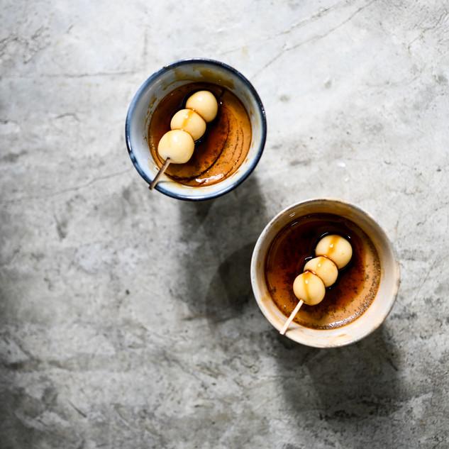 Hasami-yaki Exhibition Special Hojicha Pudding at elixir