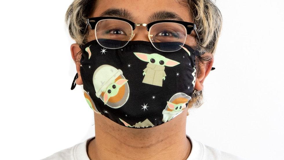 Star Wars The Mandalorian Grogu Adjustable Face Cover - Black