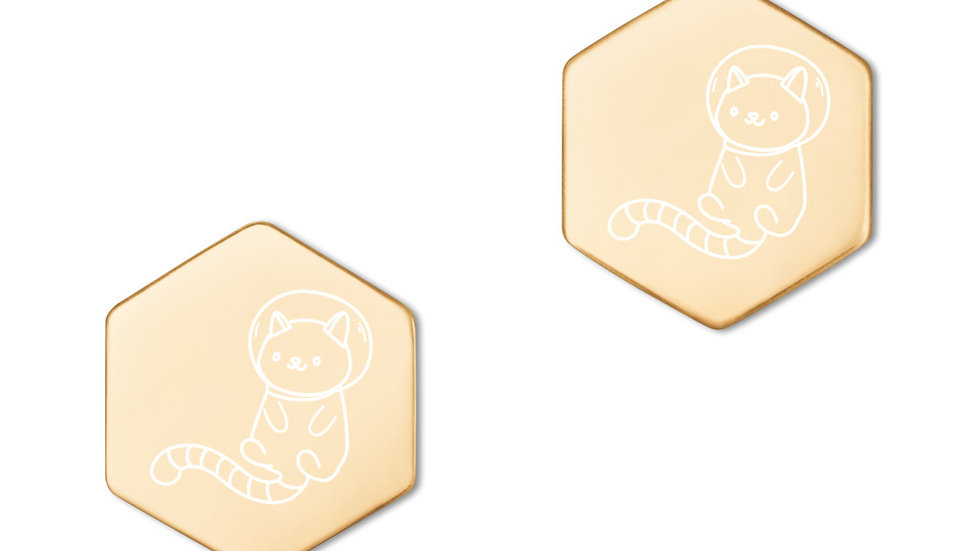 Space Cats Sterling Silver Hexagon Stud Earrings