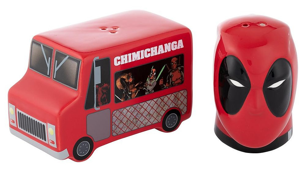 Marvel Deadpool and Food Truck Sculpted Ceramic Salt & Pepper Set