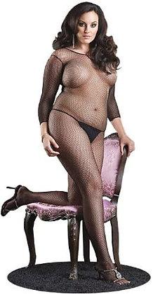 Body de manga larga de rejilla sin costuras, talla Plus Size, negro - Leg Avenue