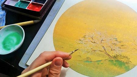 Corso di pittura giapponese a Roma - paesaggio primaverile
