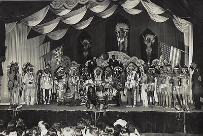 Calgary late 40's Leaders of the Indian tribes introduced on Harlem's stage