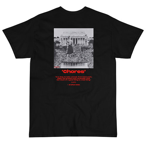 'Chores' Black T-shirt with Back Print and Logo