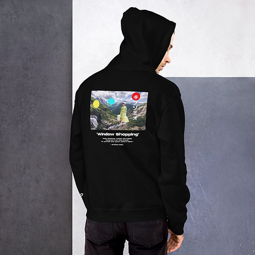 'Window Shopping' Unisex Hoodie with Back Print and Logo's
