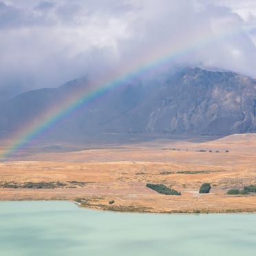 Rainbow over lake Tekapo