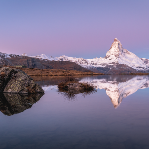 View of the Matterhorn at sunrise (Zermatt, Switzerland)  High quality matt coated paper, standard formats:   A2 - 60 CHF A3 - 50 CHF A4 - 40 CHF  Different formats are available upon specific request.