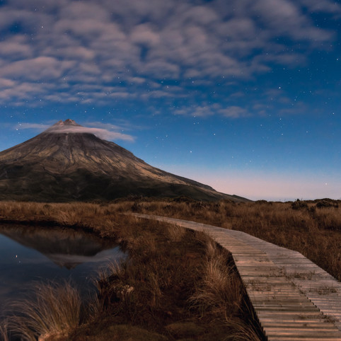 Mount Taranaki at night