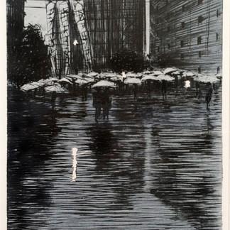 After Sumo Rain in Tokyo