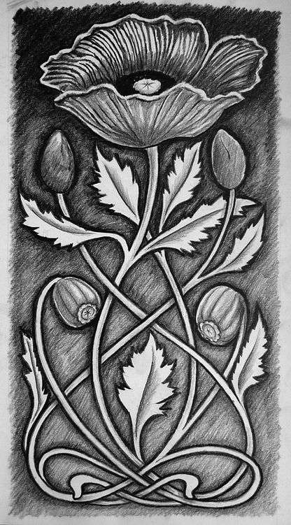 Our original pencil drawing of the honourable poppy flower in the style of the art deco look and feel of the prohibition era