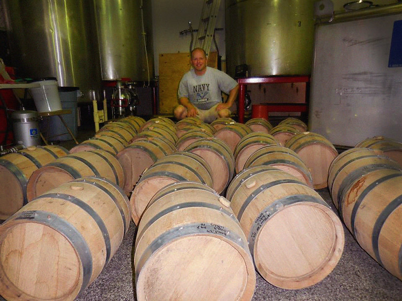 Brian and barrels of whiskey
