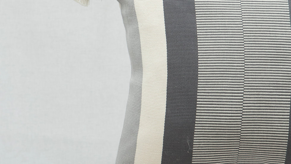 Grey and White Square Optical Stripe Pillow with Tassels