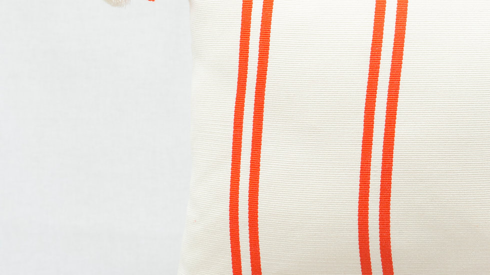 Orange and White Rectangular Stripe Pillow with Tassels