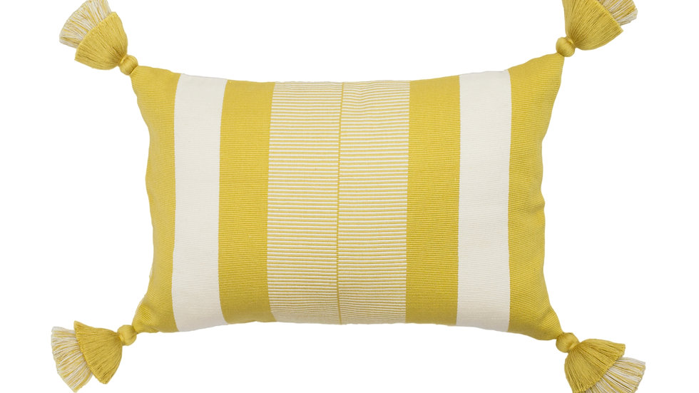 Gold and White Rectangular Optical Stripe Pillow with Tassels