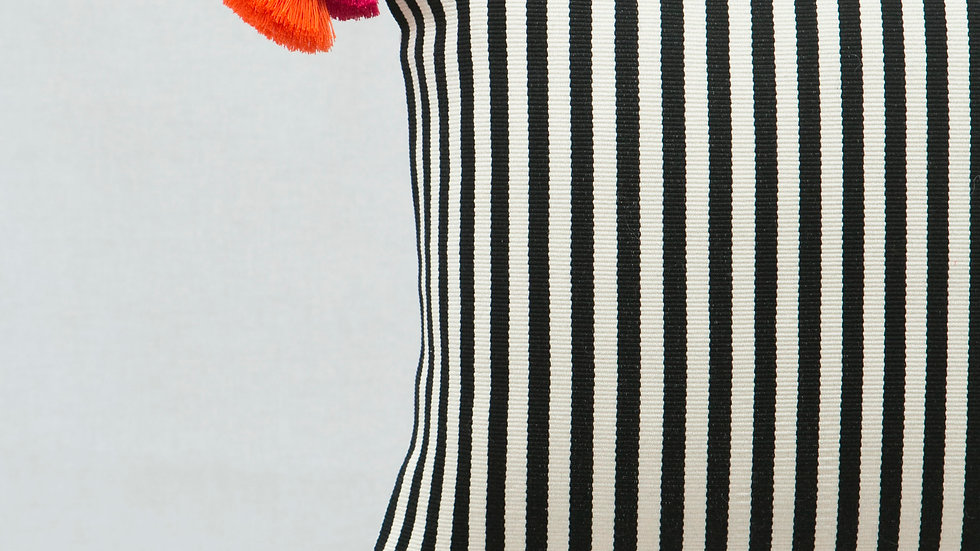 Black and White Square Narrow Stripe Pillow with Tassels
