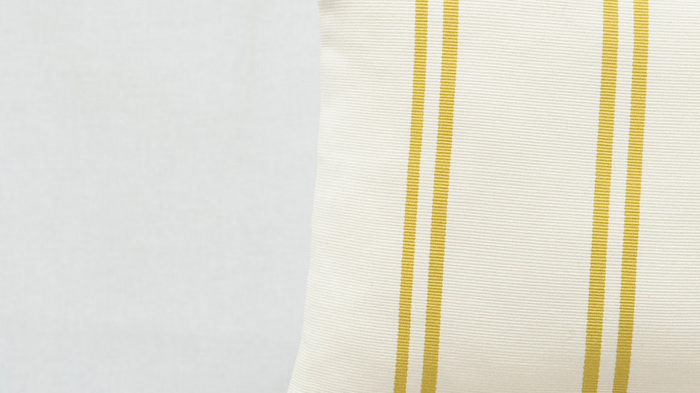 Gold and White Square Stripe Pillow with Tassels