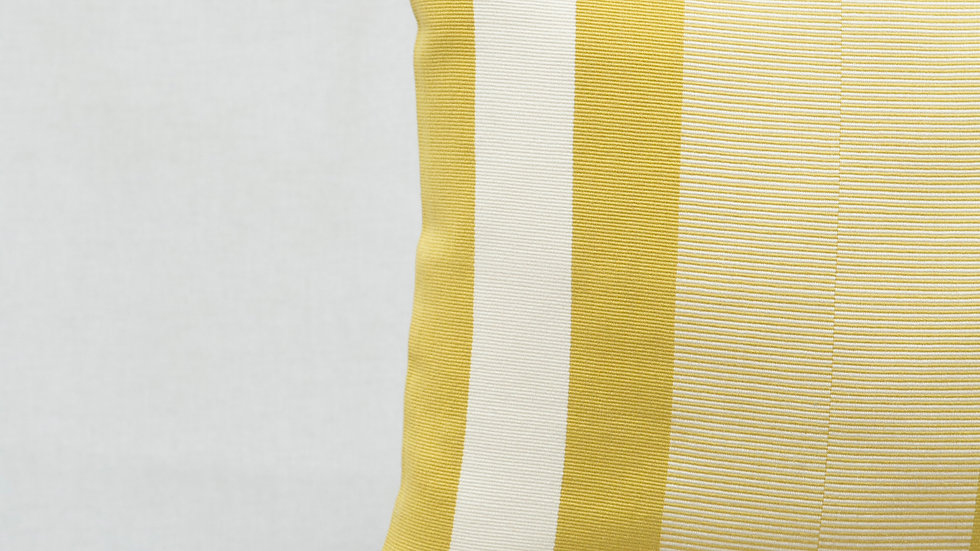 Gold and White Square Optical Stripe Pillow with Tassels