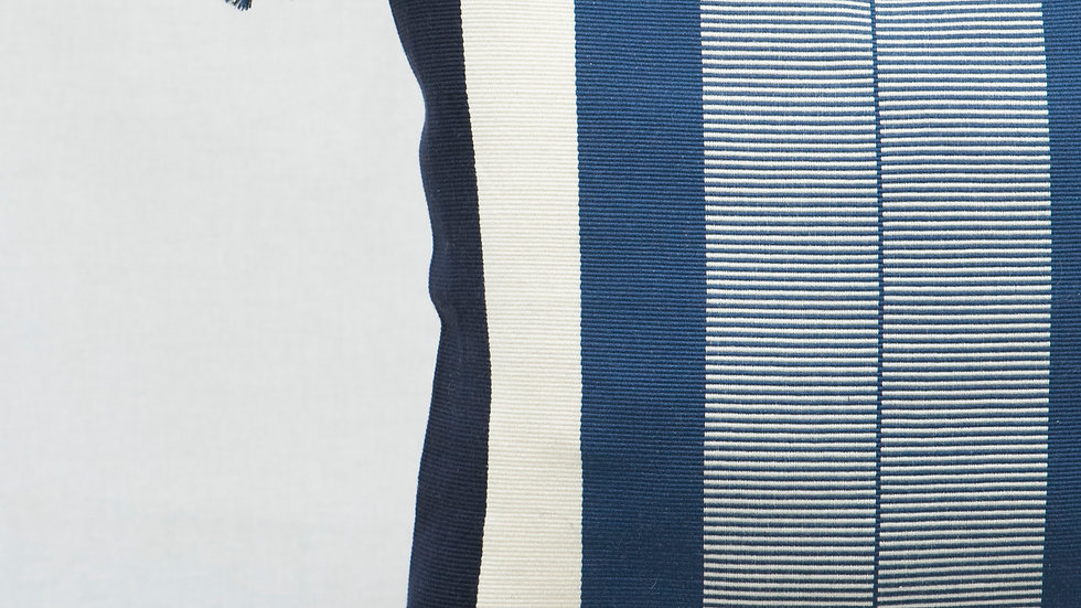 Blue and White Square Optical Stripe Pillow with Tassels