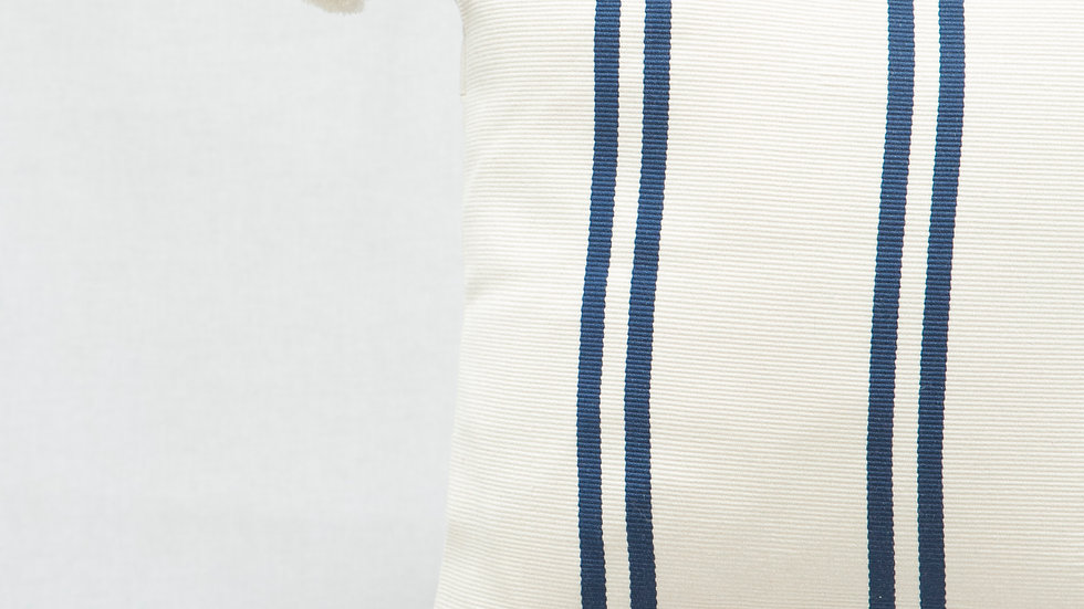 Blue and White Strip Rectangular Pillow with Tassels