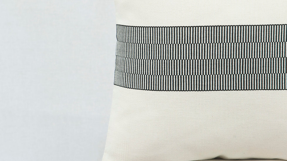 Black and White Square Optical Stripe Pillow with Tassels