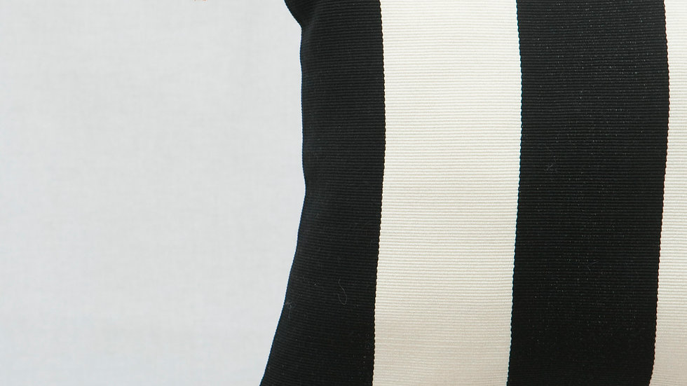 Black and White Square Wide Stripe Pillow with Tassels