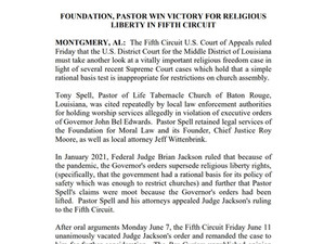 **PRESS RELEASE** FOUNDATION, PASTOR WINS VICTORY FOR RELIGIOUS LIBERTY IN FIFTH CIRCUIT