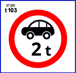 תמרורים אזהרה ואיסור בגובה t103